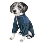 View Image 3 of Pet Life ACTIVE 'Embarker' Performance Full-Body Dog Warm Up Suit - Teal and Blue