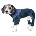 View Image 1 of Pet Life ACTIVE 'Embarker' Performance Full-Body Dog Warm Up Suit - Teal and Blue