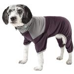 View Image 1 of Pet Life ACTIVE 'Embarker' Performance Full-Body Dog Warm Up Suit - Raisin and Grey