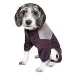 View Image 2 of Pet Life ACTIVE 'Embarker' Performance Full-Body Dog Warm Up Suit - Raisin and Grey