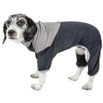 View Image 1 of Pet Life ACTIVE 'Embarker' Performance Full-Body Dog Warm Up Suit - Charcoal and Grey