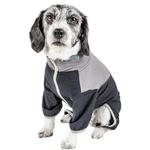 View Image 2 of Pet Life ACTIVE 'Embarker' Performance Full-Body Dog Warm Up Suit - Charcoal and Grey