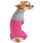 View Image 3 of Pet Life ACTIVE 'Embarker' Performance Full-Body Dog Warm Up Suit - Pink and Gray