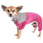 View Image 1 of Pet Life ACTIVE 'Embarker' Performance Full-Body Dog Warm Up Suit - Pink and Gray