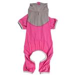 View Image 4 of Pet Life ACTIVE 'Embarker' Performance Full-Body Dog Warm Up Suit - Pink and Gray