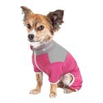 View Image 2 of Pet Life ACTIVE 'Embarker' Performance Full-Body Dog Warm Up Suit - Pink and Gray