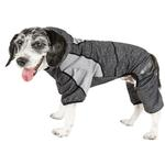 View Image 1 of Pet Life ACTIVE 'Fur-Breeze' Performance Full Body Warm-Up Dog Hoodie - Black and Gray