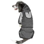 View Image 3 of Pet Life ACTIVE 'Fur-Breeze' Performance Full Body Warm-Up Dog Hoodie - Black and Gray