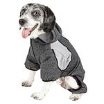 View Image 2 of Pet Life ACTIVE 'Fur-Breeze' Performance Full Body Warm-Up Dog Hoodie - Black and Gray
