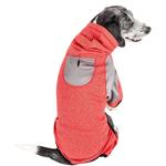View Image 2 of Pet Life ACTIVE 'Fur-Breeze' Performance Full Body Warm-Up Dog Hoodie - Red and Gray