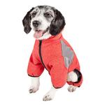 View Image 3 of Pet Life ACTIVE 'Fur-Breeze' Performance Full Body Warm-Up Dog Hoodie - Red and Gray