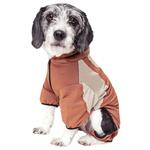 View Image 3 of Pet Life ACTIVE 'Fur-Breeze' Performance Full Body Warm-Up Dog Hoodie - Teracotta and Tan