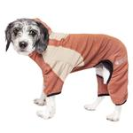 View Image 1 of Pet Life ACTIVE 'Fur-Breeze' Performance Full Body Warm-Up Dog Hoodie - Teracotta and Tan