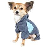 View Image 2 of Pet Life ACTIVE 'Fur-Breeze' Performance Full Body Warm-Up Dog Hoodie - Navy and Blue