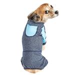 View Image 3 of Pet Life ACTIVE 'Fur-Breeze' Performance Full Body Warm-Up Dog Hoodie - Navy and Blue