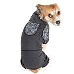 View Image 2 of Pet Life ACTIVE 'Pawsterity' Performance Dog Hoodie Jumpsuit - Black