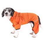View Image 1 of Pet Life ACTIVE 'Pawsterity' Peformance Dog Hoodie Jumpsuit - Orange