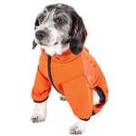 View Image 4 of Pet Life ACTIVE 'Pawsterity' Peformance Dog Hoodie Jumpsuit - Orange