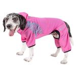 View Image 1 of Pet Life ACTIVE 'Pawsterity' Peformance Dog Hoodie Jumpsuit - Pink