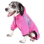 View Image 2 of Pet Life ACTIVE 'Pawsterity' Peformance Dog Hoodie Jumpsuit - Pink