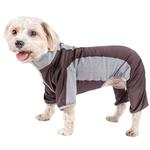 View Image 1 of Pet Life ACTIVE 'Warm-Pup' Performance Jumpsuit - Brown and Gray