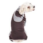 View Image 2 of Pet Life ACTIVE 'Warm-Pup' Performance Jumpsuit - Brown and Gray