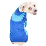 View Image 2 of Pet Life ACTIVE 'Warm-Pup' Performance Jumpsuit - Dark Blue and Light Blue
