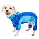 View Image 1 of Pet Life ACTIVE 'Warm-Pup' Performance Jumpsuit - Dark Blue and Light Blue