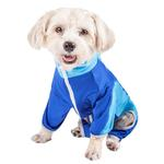 View Image 3 of Pet Life ACTIVE 'Warm-Pup' Performance Jumpsuit - Dark Blue and Light Blue