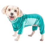 View Image 1 of Pet Life ACTIVE 'Warm-Pup' Performance Jumpsuit - Green and Aqua