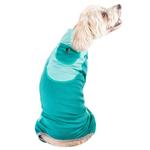View Image 3 of Pet Life ACTIVE 'Warm-Pup' Performance Jumpsuit - Green and Aqua
