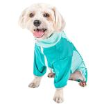 View Image 2 of Pet Life ACTIVE 'Warm-Pup' Performance Jumpsuit - Green and Aqua