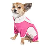 View Image 2 of Pet Life ACTIVE 'Warm-Pup' Performance Jumpsuit - Hot Pink and Light Pink