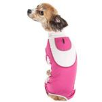 View Image 3 of Pet Life ACTIVE 'Warm-Pup' Performance Jumpsuit - Hot Pink and Light Pink