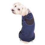 View Image 2 of Pet Life ACTIVE 'Warm-Pup' Performance Jumpsuit - Navy and Black