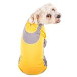 View Image 2 of Pet Life ACTIVE 'Warm-Pup' Performance Jumpsuit - Yellow and Gray