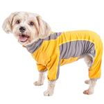 View Image 1 of Pet Life ACTIVE 'Warm-Pup' Performance Jumpsuit - Yellow and Gray