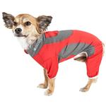 View Image 1 of Pet Life ACTIVE 'Warm-Pup' Performance Jumpsuit - Red and Gray