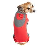 View Image 3 of Pet Life ACTIVE 'Warm-Pup' Performance Jumpsuit - Red and Gray