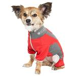 View Image 2 of Pet Life ACTIVE 'Warm-Pup' Performance Jumpsuit - Red and Gray
