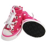 View Image 1 of Pet Life 'Extreme-Skater' Canvas Dog Sneakers - Pink Polka Dot