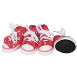 View Image 2 of Pet Life 'Extreme-Skater' Canvas Dog Sneakers - Pink Polka Dot