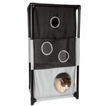 View Image 1 of Pet Life 'Kitty-Square' Collapsible Cat Playhouse Lounger - Black and White