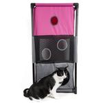View Image 1 of Pet Life 'Kitty-Square' Collapsible Cat Playhouse Lounger - Pink and Gray