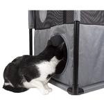 View Image 3 of Pet Life 'Kitty-Square' Collapsible Cat Playhouse Lounger - Pink and Gray