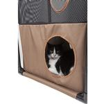 View Image 2 of Pet Life 'Kitty-Square' Collapsible Cat Playhouse Lounger - Khaki and Brown