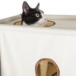 View Image 3 of Pet Life 'Kitty-Square' Collapsible Cat Playhouse Lounger - Khaki and Brown