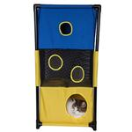 View Image 1 of Pet Life 'Kitty-Square' Collapsible Cat Playhouse Lounger - Blue and Yellow