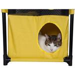 View Image 2 of Pet Life 'Kitty-Square' Collapsible Cat Playhouse Lounger - Blue and Yellow