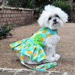 View Image 2 of Pineapple Luau Dog Harness Dress with Leash by Doggie Design
